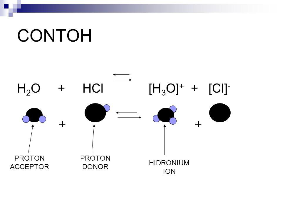 CONTOH H2O + HCl [H3O]+ + [Cl]- + + PROTON ACCEPTOR PROTON DONOR